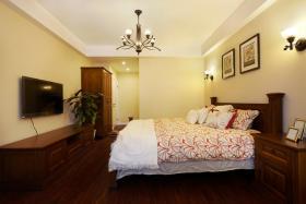 红色新中式风格典雅卧室设计图片