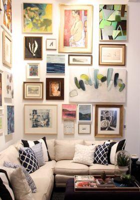 艺术时尚混搭风格客厅照片墙图片