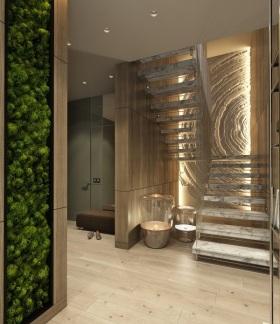 现代风格素雅米色楼梯装修设计图