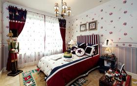 红色个性美式风格儿童房装修美图
