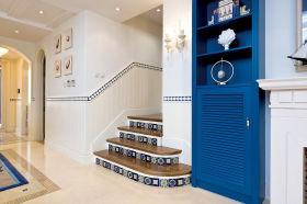 蓝色地中海温馨楼梯装潢案例