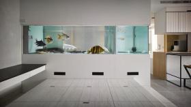 简约米色鱼缸隔断装修设计欣赏