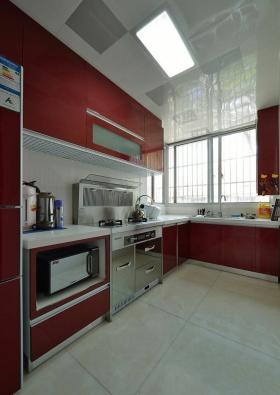 红色现代厨房装修效果图片