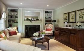 美式绿色客厅背景墙效果图设计
