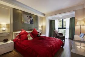 红色美式卧室设计