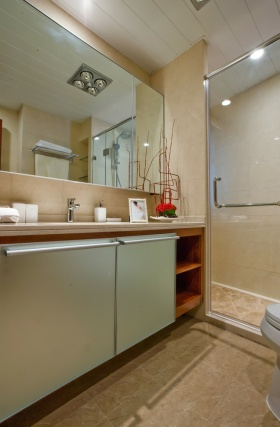 米色简约风格卫生间浴室柜设计装潢