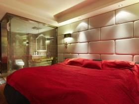 红色欧式风格卧室装修图片