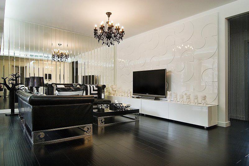 黑色复古精致简欧风格客厅装修效果图