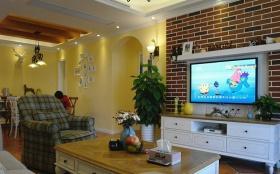 混搭黄色客厅背景墙效果图欣赏