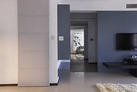 简约风格蓝色客厅背景墙效果图设计