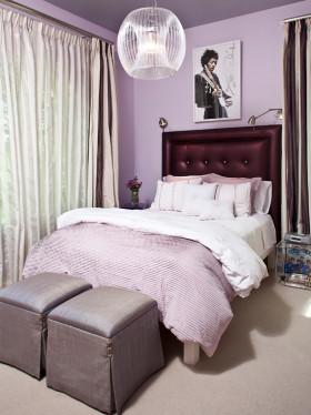 紫色简约风格卧室装潢设计
