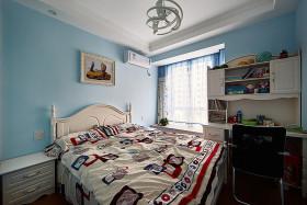 蓝色美式风格卧室背景墙设计