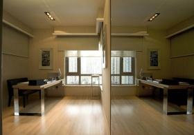米色简约风格书房墙面镜子装修设计