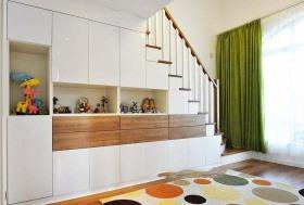 彩色宜家风格复式楼梯柜子装修