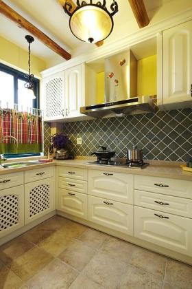 自然雅致时尚黄色东南亚风格厨房装饰案例