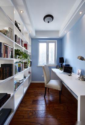 蓝色美式风格书房装修效果图片