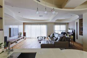 白色现代风格客厅吊顶装潢设计