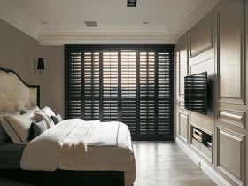 黑色时尚复古简欧风格卧室装潢设计