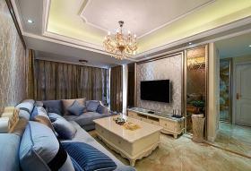 精美时尚简欧风格客厅背景墙装修图