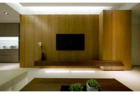 黄色简约风格客厅背景墙装修效果图