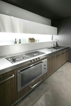 灰色现代风格厨房橱柜装修效果图片