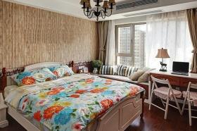 米色田园风格卧室带飘窗设计图片