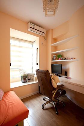 橙色温暖简约风格书房装修设计