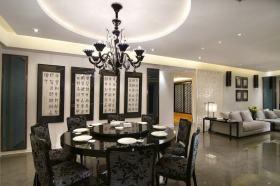 灰色雅致中式风格餐厅装潢案例