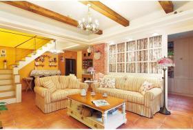 雅致时尚精致田园橙色客厅装潢设计