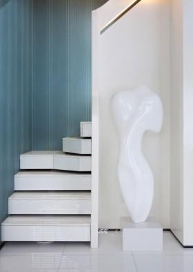 艺术时尚现代白色楼梯装潢设计
