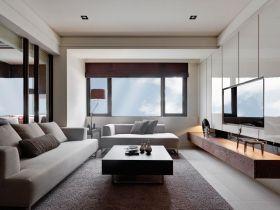 灰色时尚现代风格客厅装修布置