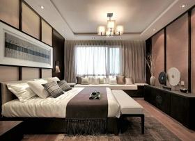 褐色中式风格卧室带飘窗装修布置