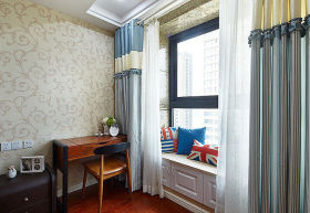 蓝色混搭风格卧室飘窗窗帘欣赏