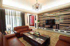 红色简欧风格客厅背景墙设计欣赏