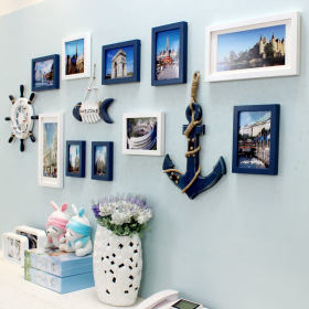 蓝色地中海风格照片墙装饰设计图片
