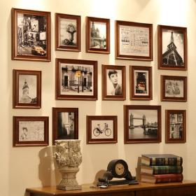 复古自然美式风格照片墙设计