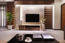 褐色东南亚风客厅背景墙装修布置