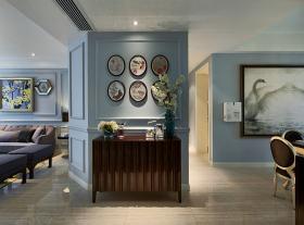 大气蓝色浪漫美式照片墙效果图设计