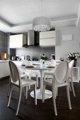 白色宜家风格餐厅厨房一体装修图片