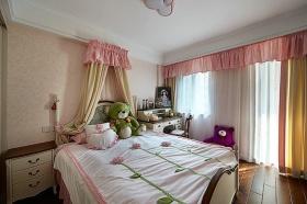 美式甜美粉色卧室窗帘装修布置