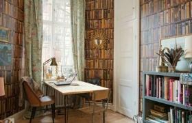 唯美复古欧式宫廷风格书房窗帘装修案例