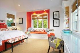 浪漫创意橙色简约卧室设计装潢