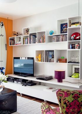 时尚白色混搭背景墙设计图片