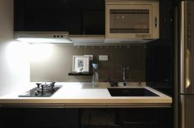 黑色简约风格厨房燃气灶装饰案例
