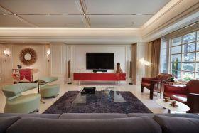 美式红色客厅设计