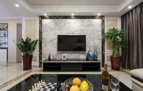 黑色简约风格客厅背景墙装潢