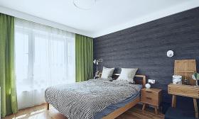 绿色宜家风格卧室窗帘美图欣赏
