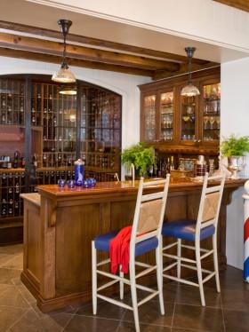 原木色美式风格酒柜吧台美图欣赏