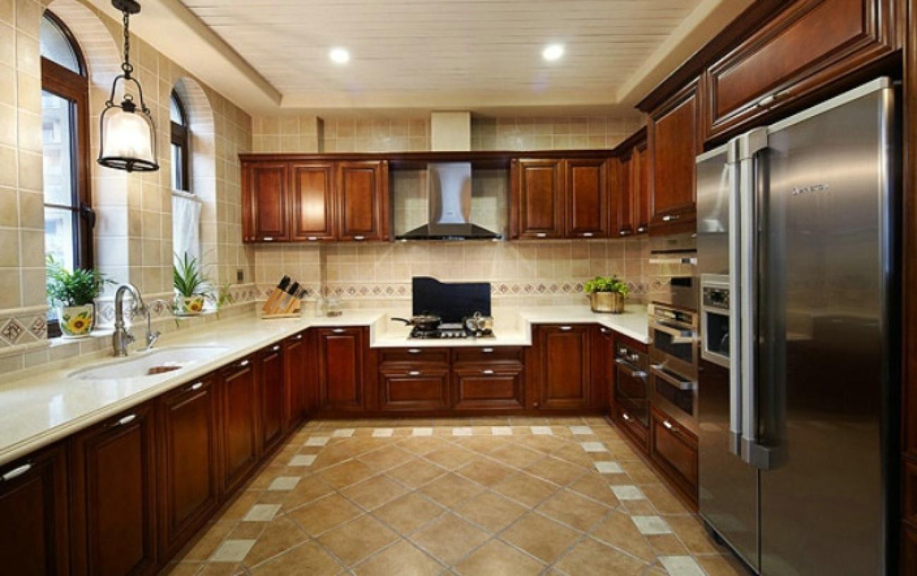 大气复古雅致美式风格厨房橱柜装修效果图