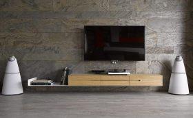 现代时尚灰色电视背景墙装饰图